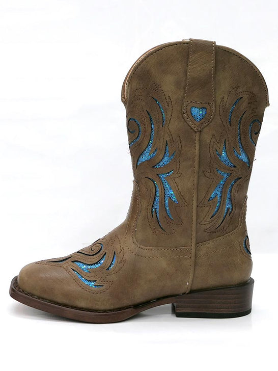 Roper 1549TA Kids GLITTER BREEZE Square Toe Bling Cowgirl Boot Tan 09-018-1901-1549 TA Side View