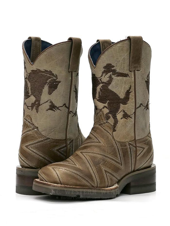 Roper 1446TA Kids Arlo Jr Embroidery Square Toe Cowboy Boot Tan 09-018-7023-1446 TA  a pair at JC Wstern