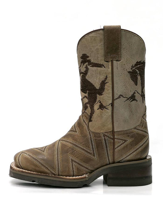 Roper 1446TA Kids Arlo Jr Embroidery Square Toe Cowboy Boot Tan 09-018-7023-1446 TA  side view