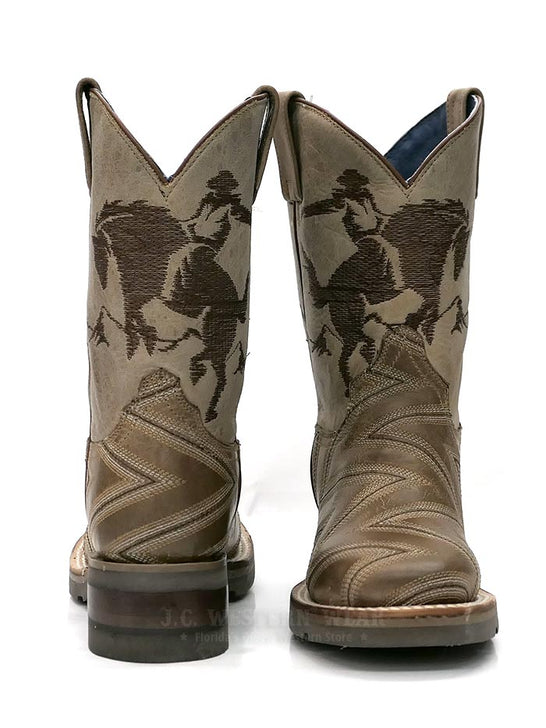 Roper 1446TA Kids Arlo Jr Embroidery Square Toe Cowboy Boot Tan 09-018-7023-1446 TA  front and back