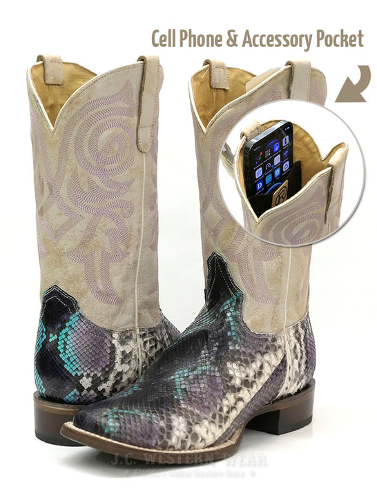 "Roper 8144BU Womens 11"" Python Vamp Square Toe Western Boot White Phone Pocket"