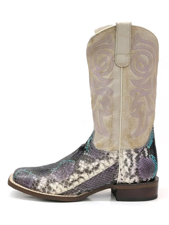 "Roper 8144BU Womens 11"" Python Vamp Square Toe Western Boot White Side View"