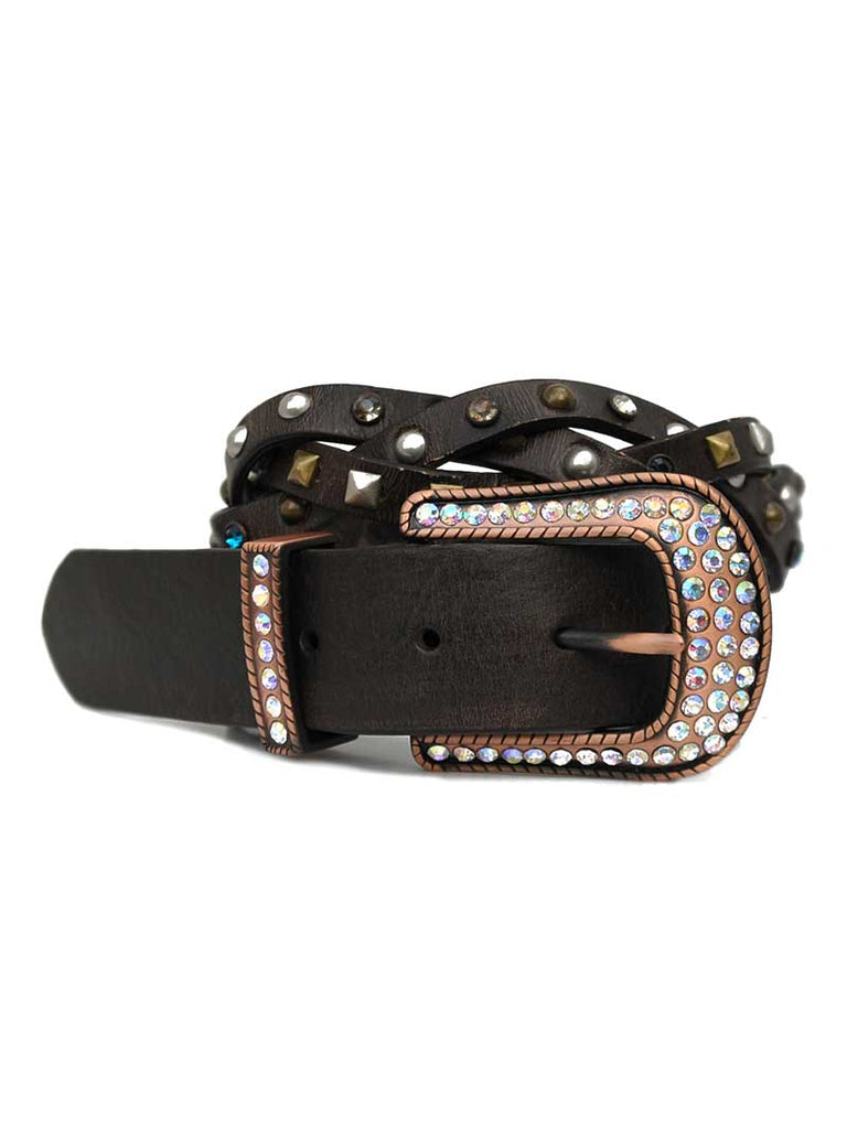 Ladies Roper Brown Rhinestone Leather Belt 8472790 J.C. Western® Wear - J.C. Western® Wear