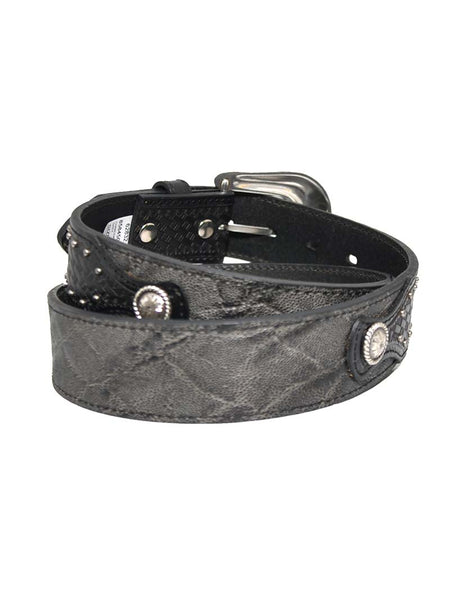 Roper 8584500-GRY Mens Charcoal Grey Conchos Western Leather Belt