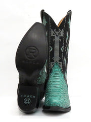 Roper 8143BU Womens Exotic Python Snip Toe Fashion Boot Turquoise Sole 09-021-6601-8143 BU