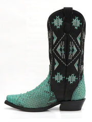 Roper 8143BU Womens Exotic Python Snip Toe Fashion Boot Turquoise Side 09-021-6601-8143 BU