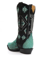 Roper 8143BU Womens Exotic Python Snip Toe Fashion Boot Turquoise back 09-021-6601-8143 BU