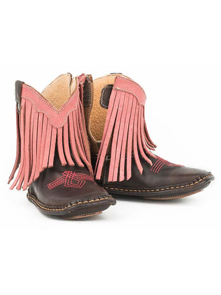 Roper Kids Brown Little Bit of Fringe Square Toe Boot 1362BR