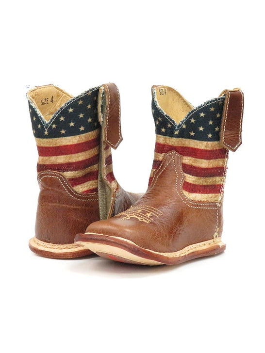 Roper Infants Stars & Stripes Cowbaby Flag Western Boot 1368BR Front and Back