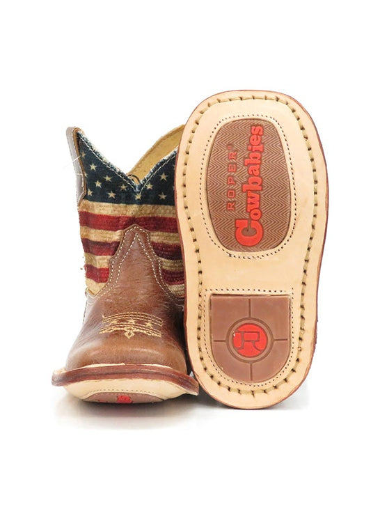 Roper Infants Stars & Stripes Cowbaby Flag Western Boot 1368BR Sole