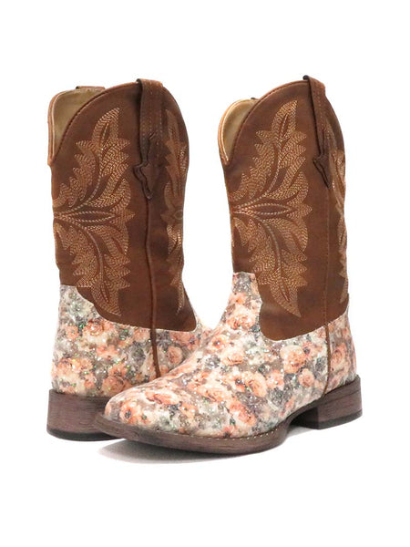 Roper Kids Brown Floral Glitter Square Toe Fashion Boot 2136BR Kid's Boot
