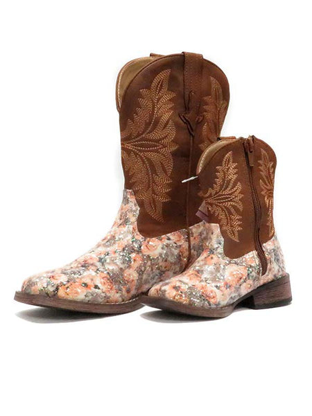 Roper Kids Brown Floral Glitter Square Toe Fashion Boot 2136BR 09-018-1903-2136 BR 09-017-1903-2136 BR Toddler and Kid's Boots