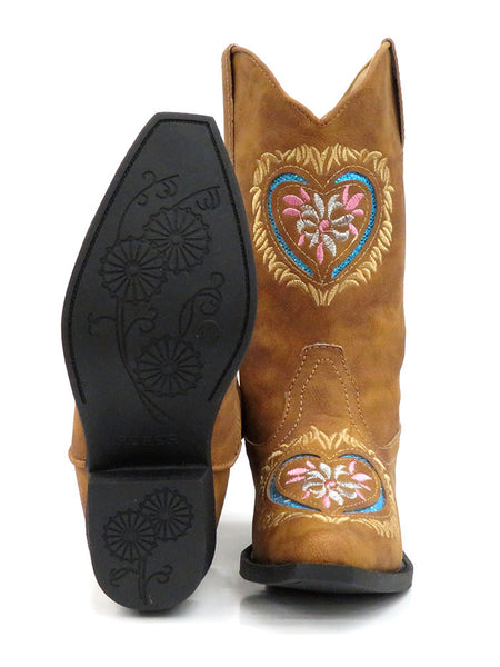 Roper Kids Embroidered Glitter Heart Tan Western Boots 2401TA Sole and Front