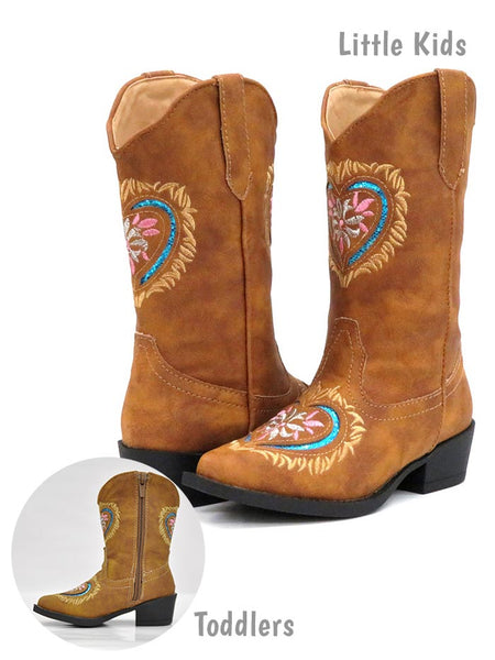 Roper Kids Embroidered Glitter Heart Tan Western Boots 2401TA for Toddler and Little Kids 09-017-1556-2401 TA