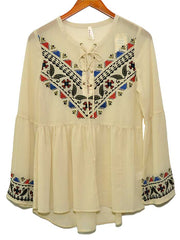 Roper Womens Embroidery Tulip Sleeve Tan Dress 7026WH