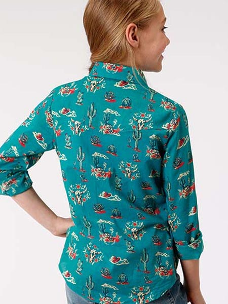 Roper Girls Cactus Scene LS Western Shirt 6034BU back view