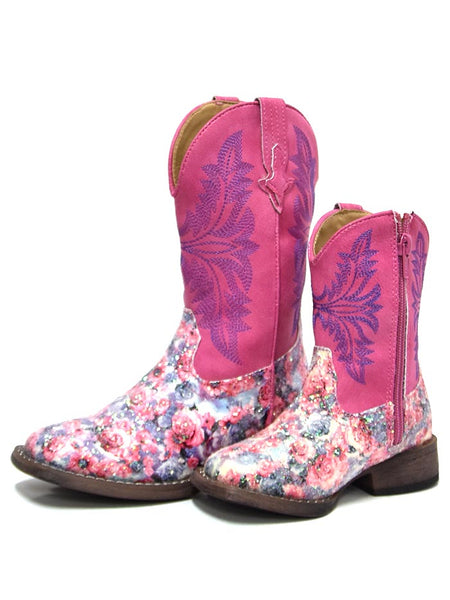 Roper 2137PK Kids Multi Floral Glitter Square Toe Fashion Boot Pink