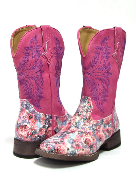 Roper Kids Pink Multi Floral Glitter Square Toe Fashion Boot 1903-2137