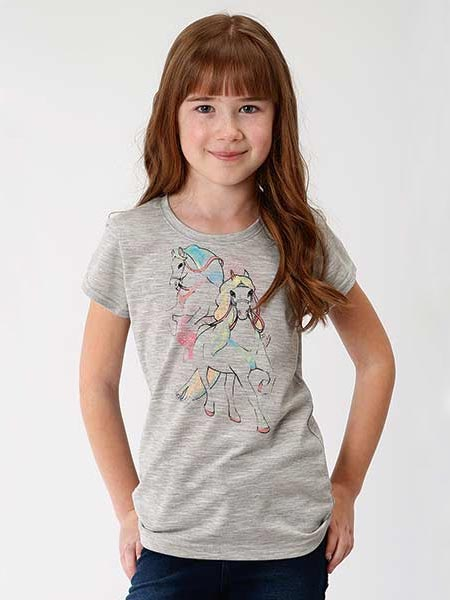 Roper 6094GY Girls Jersey Knit Short Sleeve Tee Heather Grey  Front