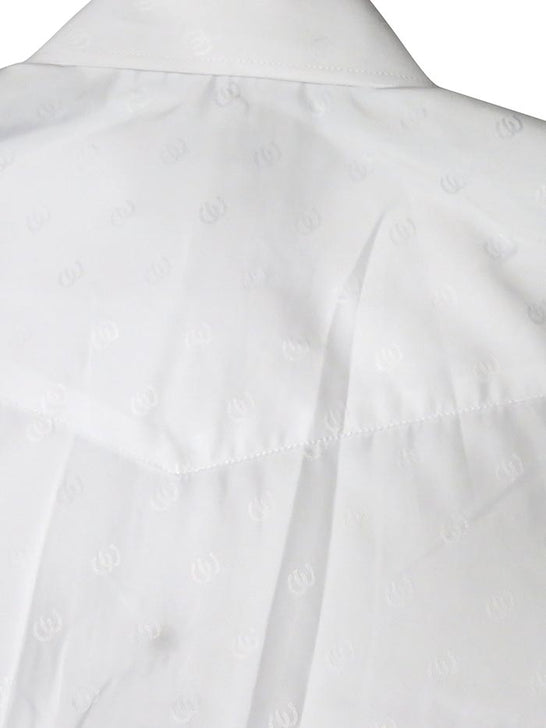 Roper Mens Tone on Tone Horseshoes Solid White Shirt 0717WH back view