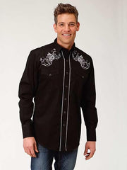 Roper Mens WHITE ROSE Embroidered LS Black Snap Shirts 0101BL 03-001-0040-0100 BL Front