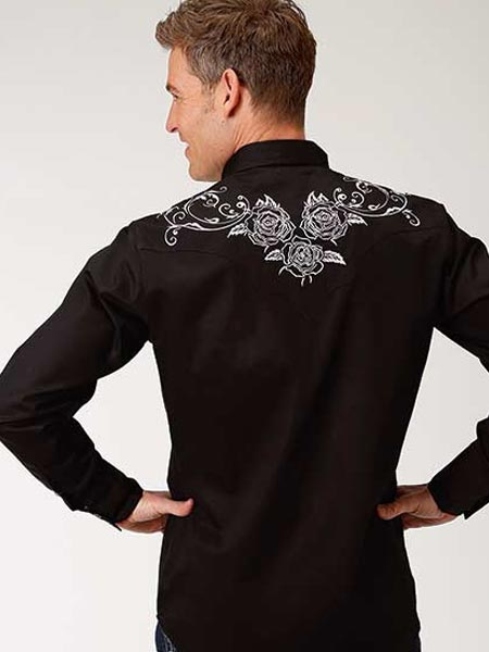 Roper Mens WHITE ROSE Embroidered LS Black Snap Shirts 0101BL 03-001-0040-0100 BL Back