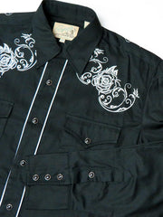 Roper Mens WHITE ROSE Embroidered LS Black Snap Shirts 0101BL 03-001-0040-0100 BL Close Up