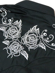 Roper Mens WHITE ROSE Embroidered LS Black Snap Shirts 0101BL 03-001-0040-0100 BL Back Close up