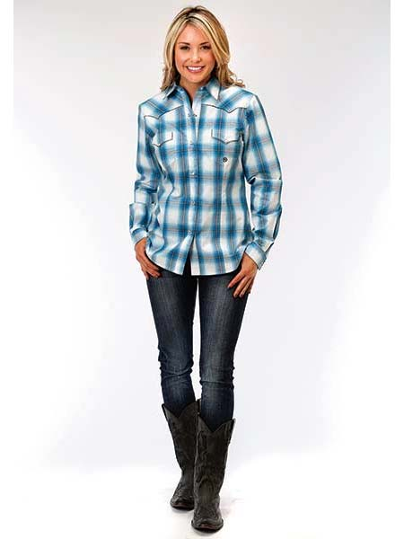Roper Ladies Amarillo Collection Blue Jay Ombre Plaid Shirt 6058BU
