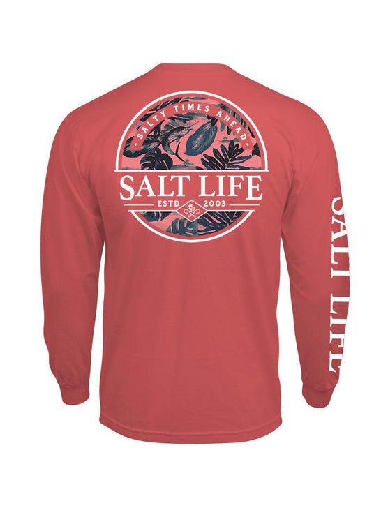 Salt Life SLM10794 Mens PARADISE SEAS Pocket Long Sleeve Tee Burnt Coral back