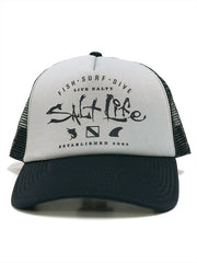 Salt Life SLM20130 Fish Surf Dive Icons Trucker Cap Grey Front