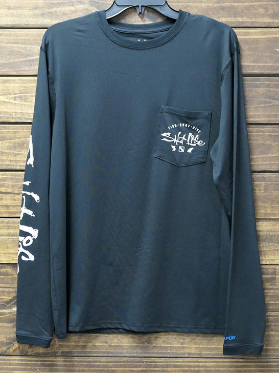 Salt Life SLM6096 Mens Watermans Trifecta LS SLX Performance Tee Black fRONT