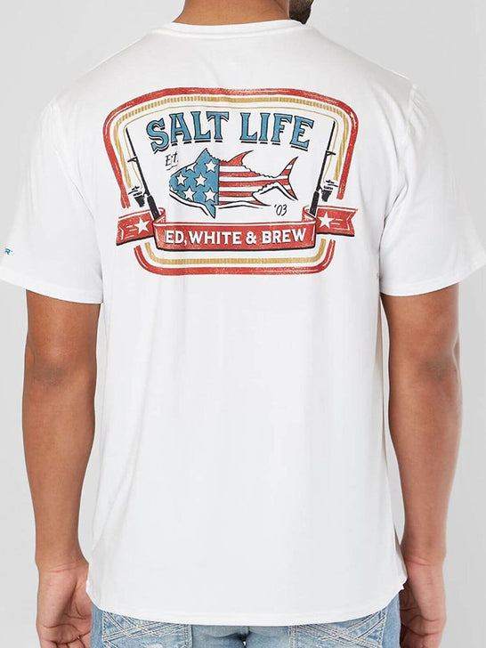 Salt Life SLM6101 Mens RED WHITE AND BREW Performance SS Pocket Tee White