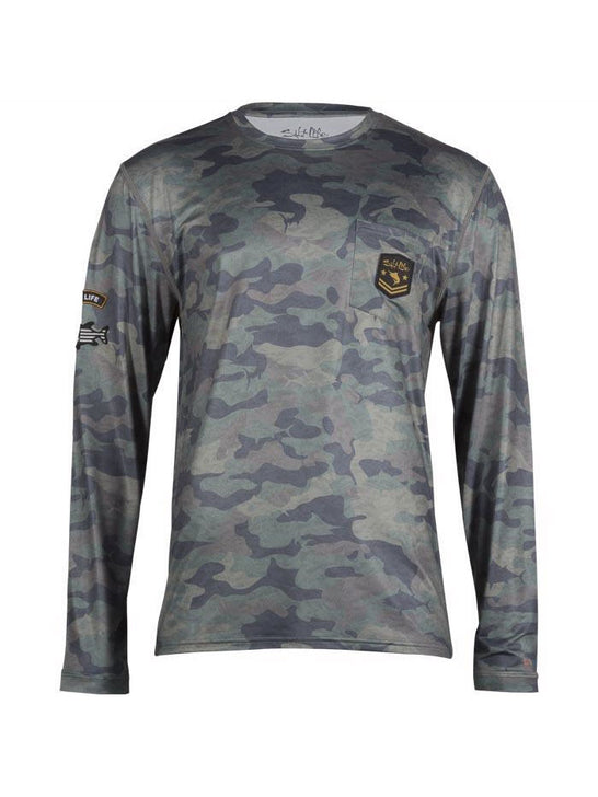Salt Life SLM6164 Mens ROGUE Performance LS Pocket Tee Army Camo Front View