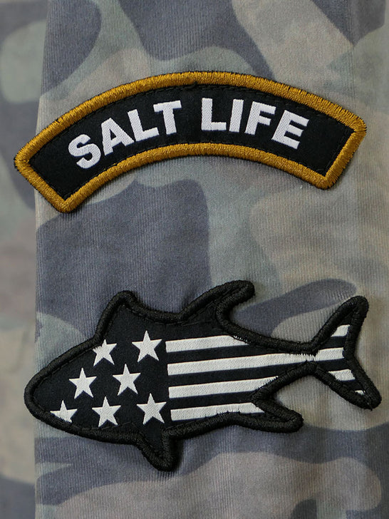 Salt Life SLM6164 Mens ROGUE Performance LS Pocket Tee Army Camo Tag