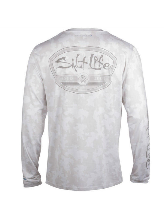 Salt Life SLM6167 Mens Mission Tonal Camo Performance Long Sleeve Tee White