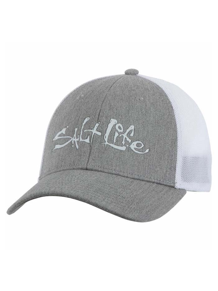 Salt Life Fish Dive Surf Stretch Fit Hat SLM297 Grey Black White