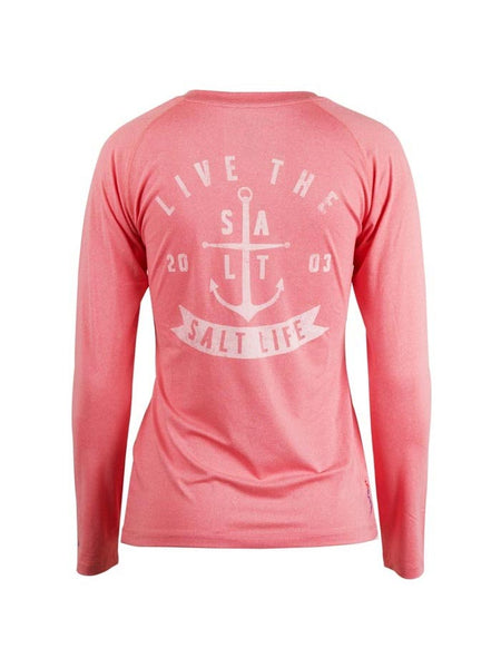 Back of Salt Life Womens Ventura Long Sleeve Performance Tee SLJ653-CRLHT Coral Heather