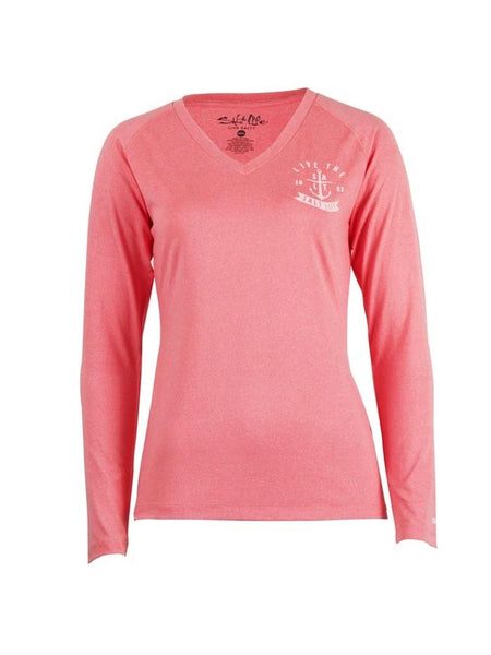 Front of Salt Life Womens Ventura Long Sleeve Performance Tee SLJ653-CRLHT Coral Heather