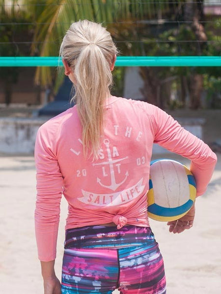 Salt Life Womens Ventura Long Sleeve Performance Tee SLJ653-CRLHT Coral Heather