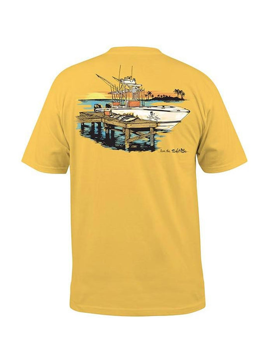 Salt Life SLM10045 Mens DOCK AND UNLOAD Short Sleeve Tee Banana SLM10045-BANAN