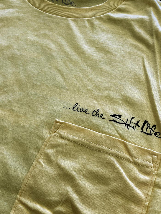 Salt Life SLM10045 Mens DOCK AND UNLOAD Short Sleeve Tee Banana POCKET