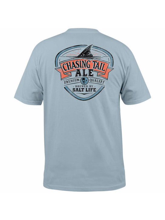 Salt Life SLM10824 Mens CHASING TAIL ALE Short Sleeve Tee Blue Stone Back