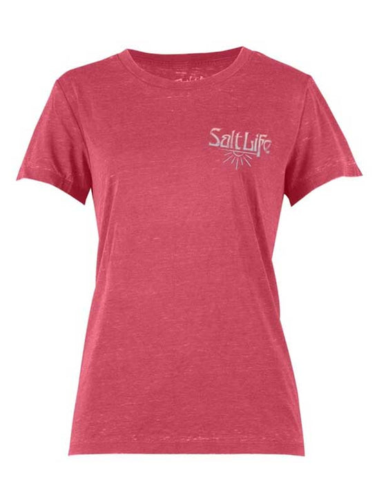 Salt Life Womens Born from the Sun Boyfriend Sunburnt Tee SLJ10234 Hibiscus