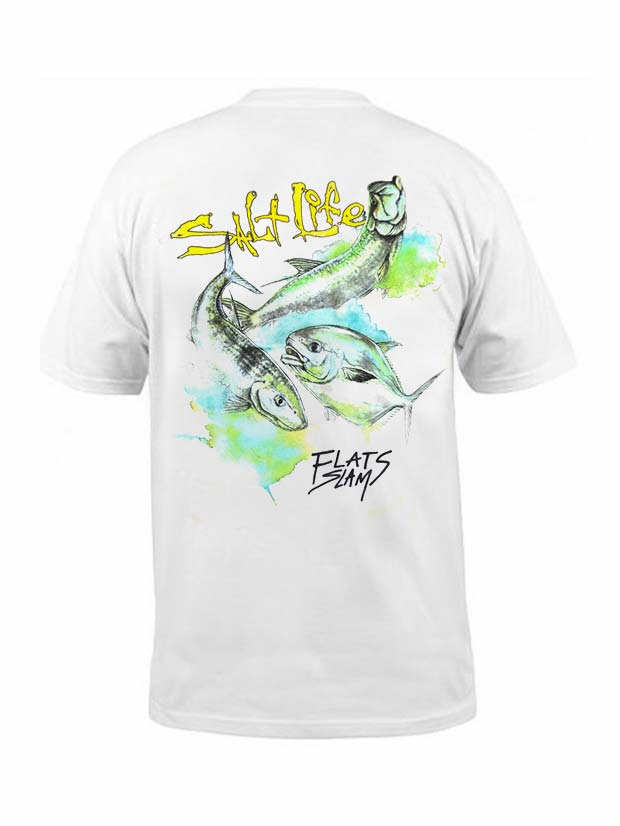 Men's Salt Life Flats Slam Pocket Tee SLM10034 White (D)
