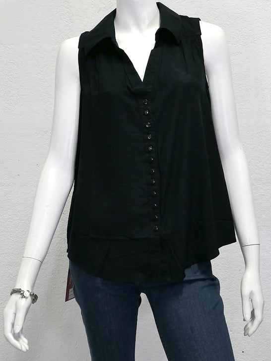 Santiki 4666-1035 Womens Lindy Sleeveless Collar Top Black Front View