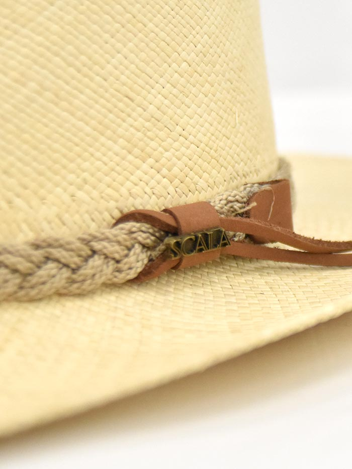 Dorfman Pacific Scala Genuine Panama Natural Straw Hat P122-NAT side front