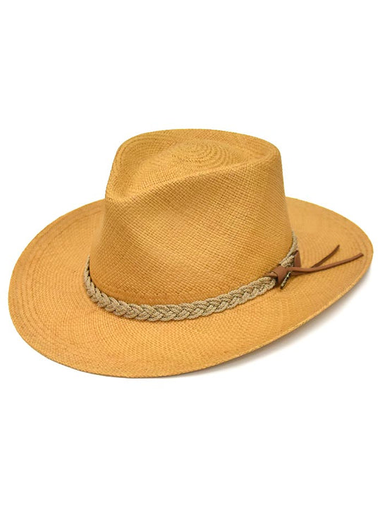 Dorfman Pacific Scala Genuine Panama Outback Straw Hat P122-PUTTY side front