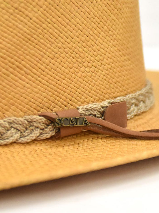 Dorfman Pacific Scala Genuine Panama Outback Straw Hat P122-PUTTY close up