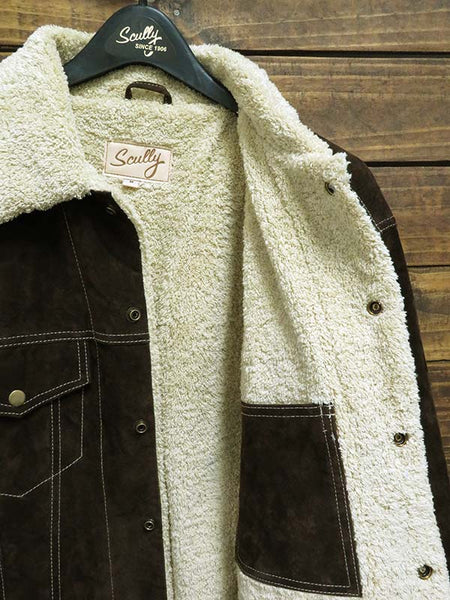 Men's Scully Sherpa Lined Boar Suede Western Jacket 113-186 Chocolate